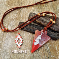 Native American arrowhead feather pendant, boho hippie jewelry