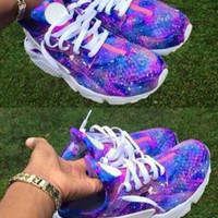 "FREE SHIPPING/DELIVERY Custom designed ""Galaxy"" Nike Huaraches"