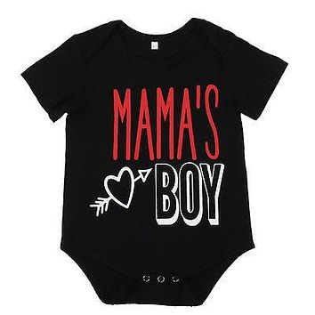 Summer Newborn Infant Kids Girls Boys mamas boy Romper Sun suit Letter Printed Jumpsuit Summer Clothes