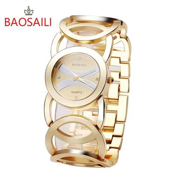 SIENNA  Luxury Gold Plated Circles Strap Watch