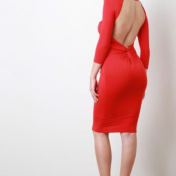 Knotted Open Back Long Sleeve Midi Dress