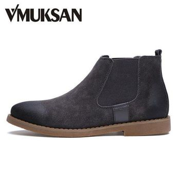ONETOW VMUKSAN Brand Chelsea Boots Men Warm Plush Winter Shoes For Men Moc Toe Fashion Boots