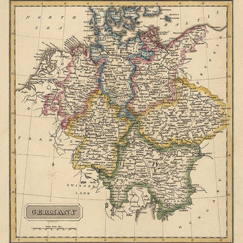 Antique Map of Germany (c1817) by Fielding Lucas - Archival Reproduction