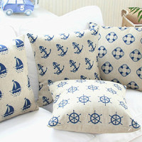 pillow cover, decorative throw pillow cover, pillow case, linen pillow case, navy pillow cover, decorative pillow cover, anchor pillow cover