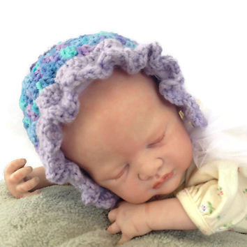 Outlander Crocheted Cream Baby Bonnet, Size 0 - 6 months Mandy Hat Blue Lavender Aqua Photo Prop Granny Squares Diana Gabaldon FREE SHIPPING