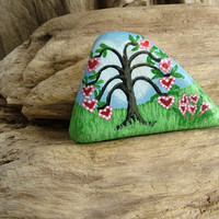 Valentine Love Tree of Hearts - Hand Painted on Beach Stone
