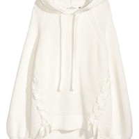 Knit Hooded Sweater - White - Ladies | H&M US
