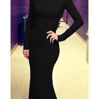 Open Back Long Sleeve Maxi Mermaid Dress