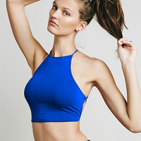 All-Match Sexy Backless Bandage Halter Crop Top Women's Summer Fashion Candy Short Camis Cropped Bustier Top Blue