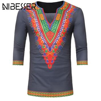 NIBESSER 2018 African Dashiki T Shirt Men Print V-Neck Top Tees Vintage Gypsy Ethnic Hip Hop Hipster African Clothing Tshirts