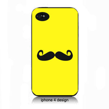 Yellow Mustache iphone 4 cell phone accessory case