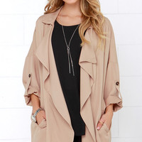 Lucky Break Beige Oversized Jacket