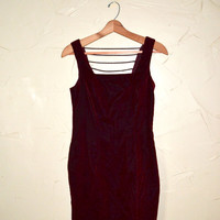 Vintage 80s Red Velvet Dress Red Crushed Velour Dress Backless Dress Burgundy Dress Mini Dress Rave Club Kid Goth 90s Dress Size 7/8