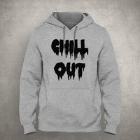 Chill out - Dripping & melting style - Gray/White Unisex Hoodie - HOODIE-031