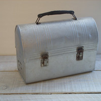 Vintage Textured Metal Lunch Box ~ Silver Grey Storage Container ~ Tin and Leather Rustic Shelf Decor