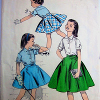 Vintage 1950s Advance 8687 Girls Blouse Skirt by Denisecraft