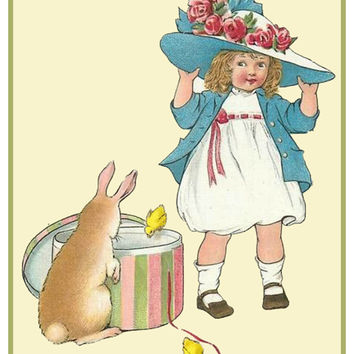 Vintage Easter Young Girl with New Easter Bonnet Bunny Counted Cross Stitch or Counted Needlepoint Pattern