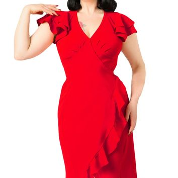 Chicloth Red 50s Flutter Sleeves Wrap Ruffled Vintage Dress