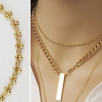 Dainty Chain Choker / Gold Chain Necklace / Trendy Choker Necklace / Layering Gold Collar Choker / Minimal Jewelry / Chain Necklace / N308