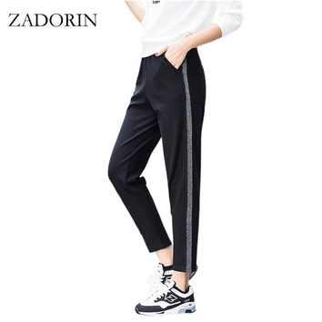 Joggers Women Silver Striped Sweatpants Ankle Length High Waist Casual Harem Pants Women Trousers pantalones mujer