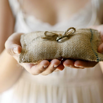 $15.00 rustic burlap wedding ring bearer pillow by whichgoose on Etsy