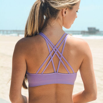 Alli Strappy Sports Bra | Lavender