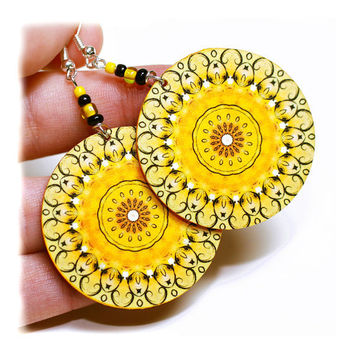 Sunny rosette Earrings Mandala Round Summer Fashion by MADEbyMADA