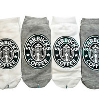 starbucks 4 Pairs white & gray color low cut ankle socks for women one size 6-9