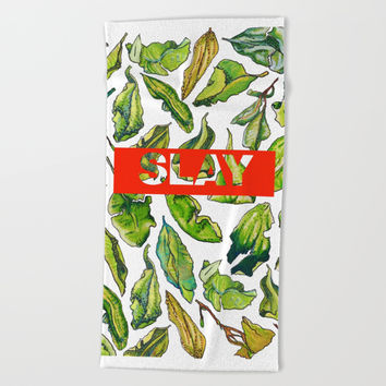 slay tea slay! // watercolor tea leaf pattern with millennial slang Beach Towel by Camila Quintana S