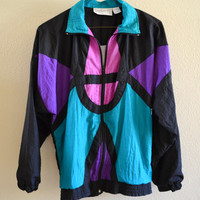 Retro Jacket Pink Purple Blue Oversized 90's Vintage Medium