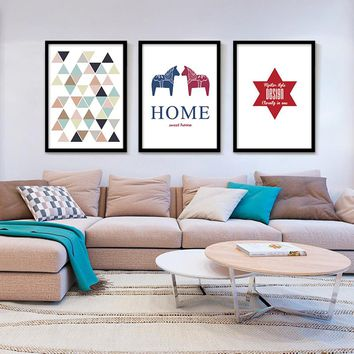 Sweet Home Paintings Geometric Triangles Printable Art Wall Pictures Canvas Art Poster Cuadros Oil Painting Wall Decor No Frame