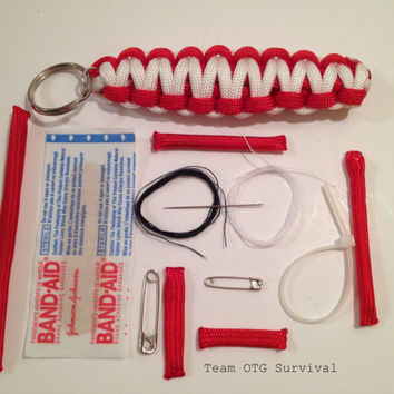 Survival Keychain: 550 Paracord with Hidden First Aid Supplies