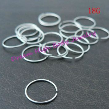 Hoop Nose Ring Eyebrow Cartilage Ear Stud Plain Surgical Steel 18G 100pcs/lot Hot Sale Cheaper Fashion Body Piercing Jewelry