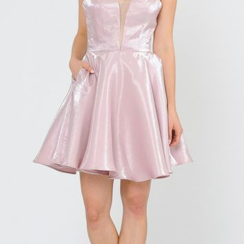 Rose Gold Criss-Cross Back Homecoming Short Dress