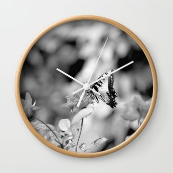 Butterflies Are Free Wall Clock by Theresa Campbell D'August Art