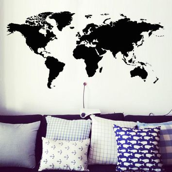 DCTOP Creative Home Decor World Map Atlas Wall Sticker Black Printed Bedroom Decorative Removable Adhesive Vinyl Wall Decal