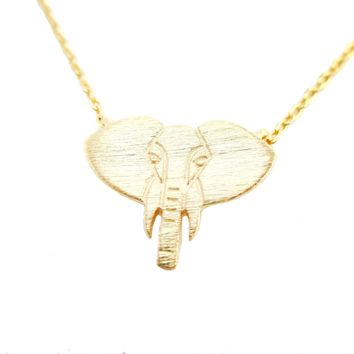 Minimal Elephant Face Shaped Charm Necklace in Gold | Animal Jewelry