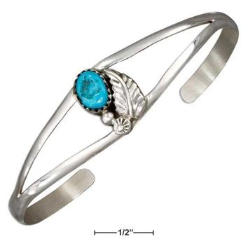 STERLING SILVER LEAF AND STABILIZED TURQUOISE STONE OPEN WIRE CUFF BRACELET