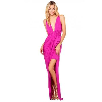 Posh Girl Hot Pink V-Neck Maxi Dress