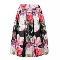 Floral Print Pleated Midi Skirt New Fashion 2016 high Waist Ball Gown Women Pleat Skirt