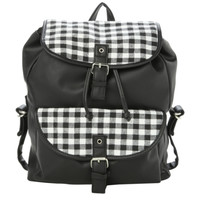Black And White Gingham Slouch Backpack