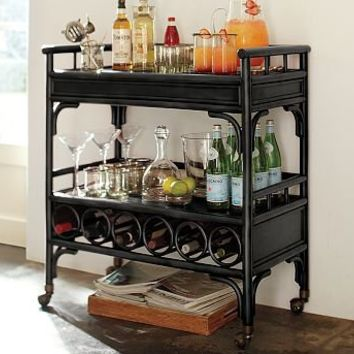 Delaney Rattan Bar Cart | Pottery Barn