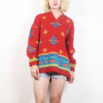 Vintage Southwestern Sweater 1990s Chunky Knit Red Teal Yellow Cowichan Sweater Boho Pullover Jumper 90s Soft Grunge M Medium L Large XL