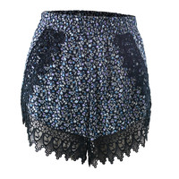 Lucy Love Ditsy Print Scallop Lace Shorts