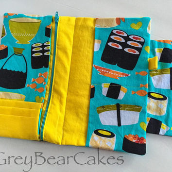 """Family Passport Holder/Boarding Pass Organizer in Michael Miller's """"Sushi Turquoise""""  - Travel Accessories"""