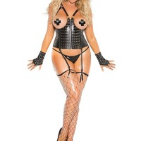 Plus Size Open bust leather corset with zipper front, nail heads,  boning and lace up back closure Garters are adjustable  and detachable  Black