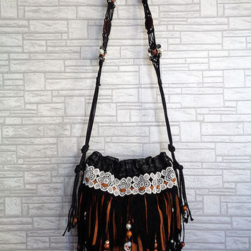 Cross body bag fringe handbag purse Boho Gypsy Hippie Shabby Chic Country