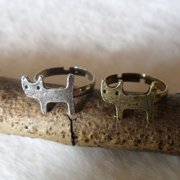 2PCS Silver And Bronze Tone Metal Cute Cat Ring -- Friendship Couple Lover Retro Finger Rings