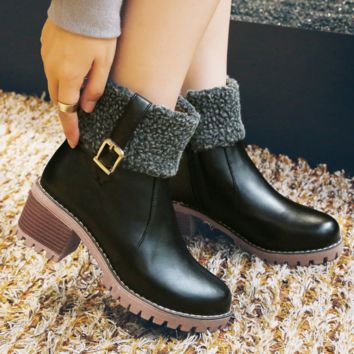 Women's Ankle Boots Warm Fur | High Heel Boots