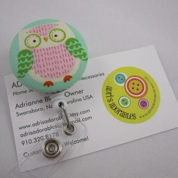 Owl Badge Reel - Pink Green and Cream - Ready to Ship - Ladies Security Badge Holder - Swivel Alligator Clip